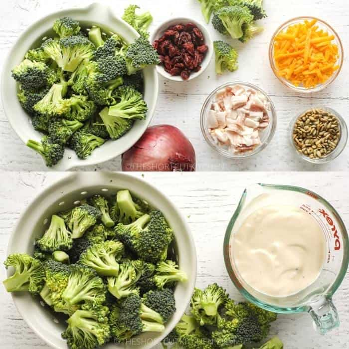 ingredients and dressing to make Easy Broccoli Salad