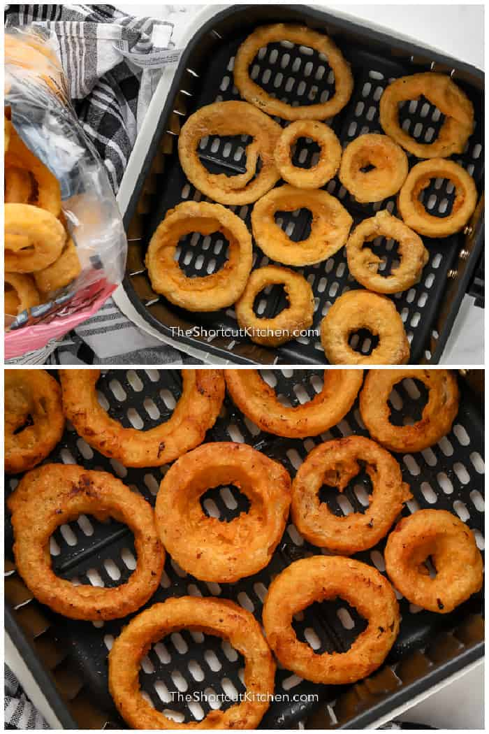 Frozen Onion Rings in an air fryer basket, and cooked Air Fryer Frozen Onion Rings in the basket.