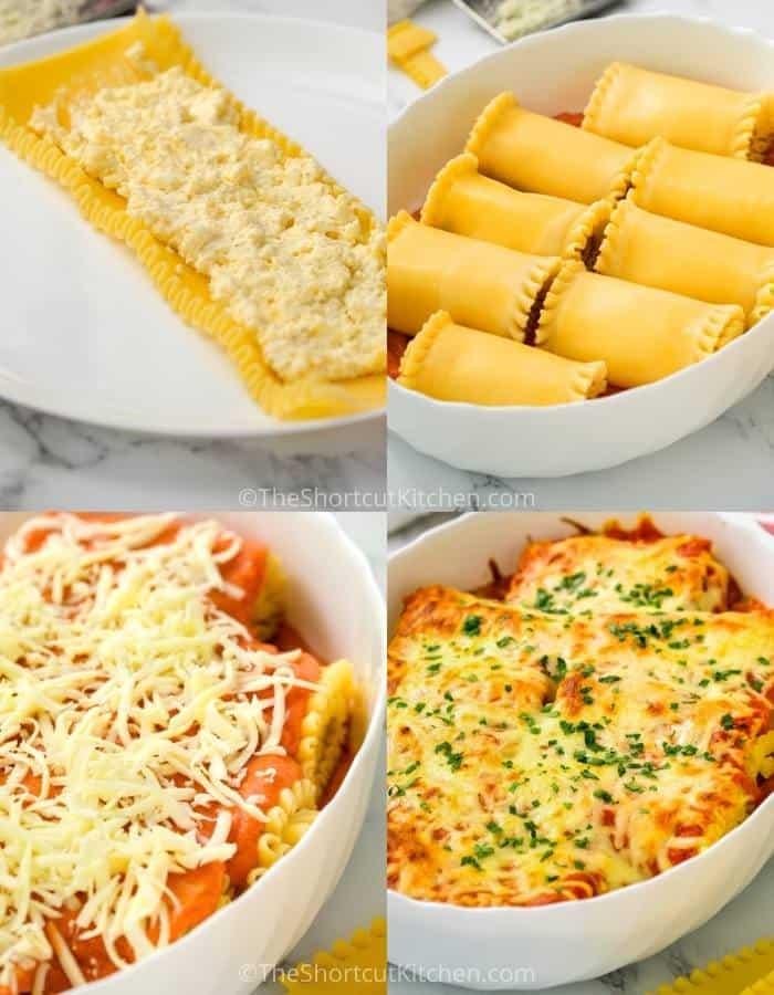 process of making 3 Cheese Lasagna Roll Ups Recipe