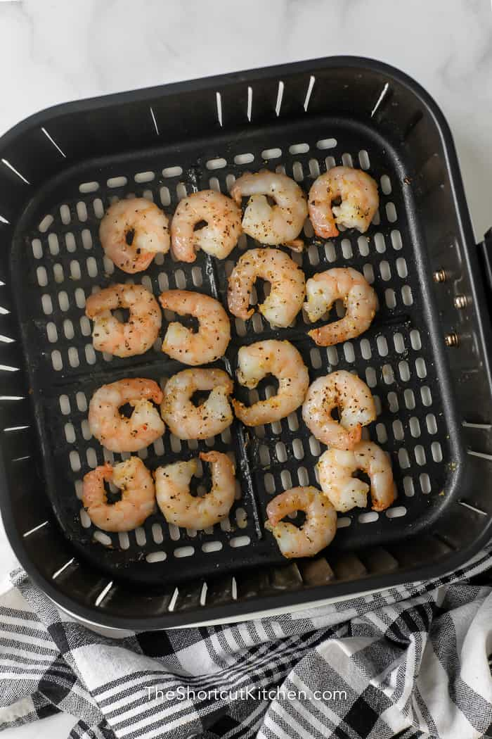 Shrimp cooked in the bottom of an Air Fryer basket