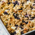 Blueberry Overnight French Toast Bake baked in the dish