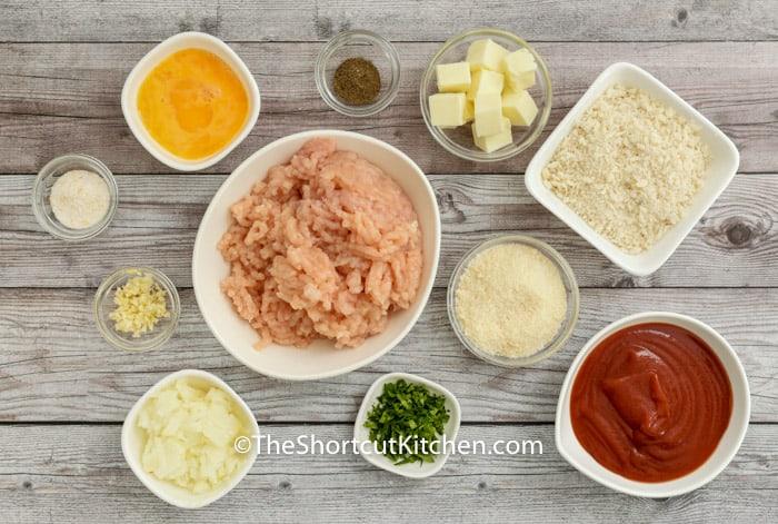 ingredients to make Chicken Parmesan Meatballs