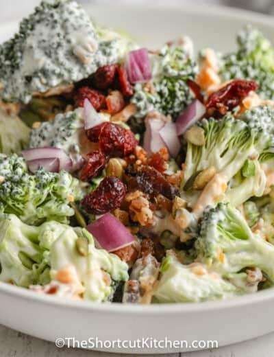 plated Easy Broccoli Salad