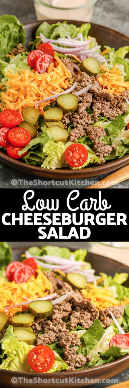 close up of Cheeseburger Salad and plated dish with dressing and a title