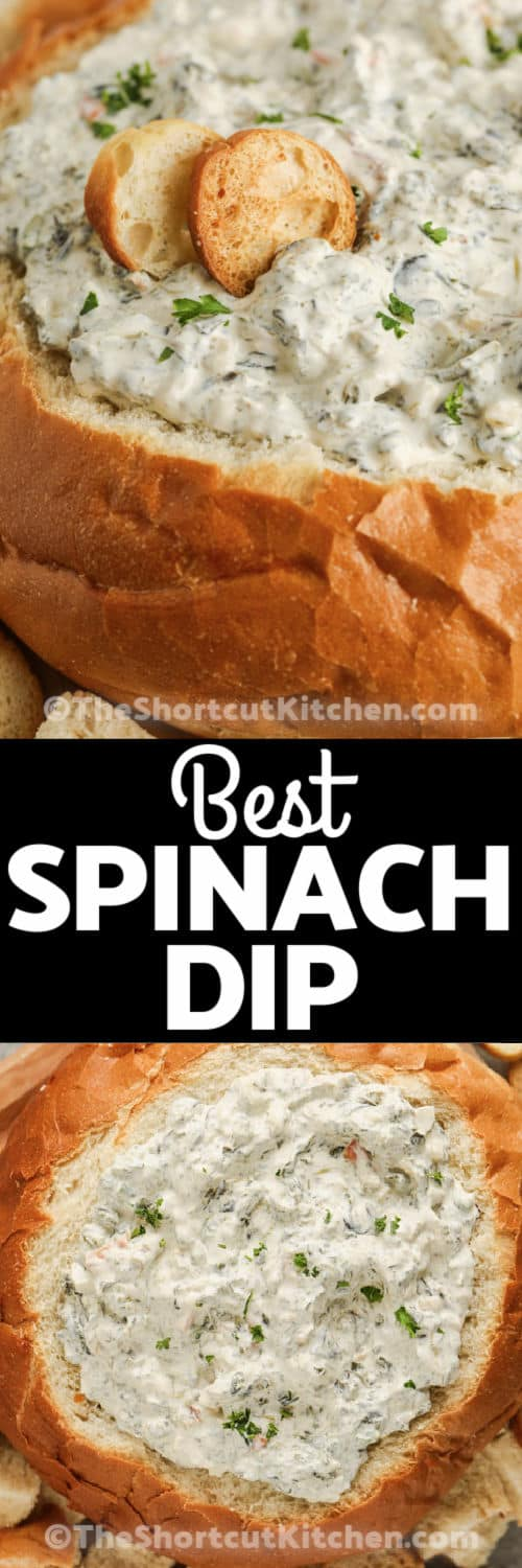 close up and top view of Easy Spinach Dip in a bread bowl with writing