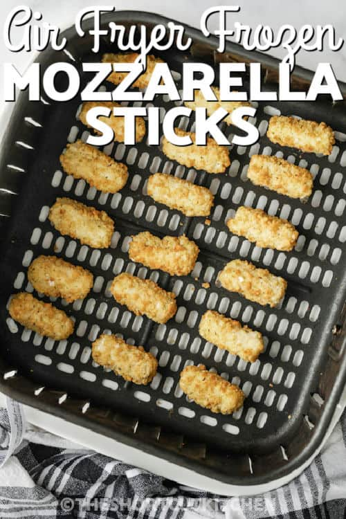 Air Fryer Frozen Mozzarella Sticks befoe cooking and a title