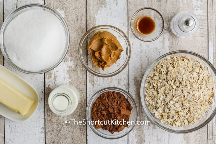 ingredients to make No Bake Chocolate Peanut Butter Oatmeal Cookies