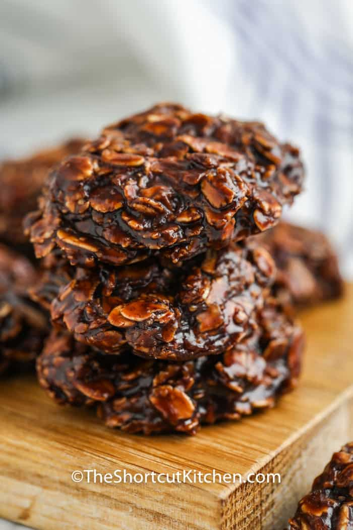 pile of No Bake Chocolate Peanut Butter Oatmeal Cookies