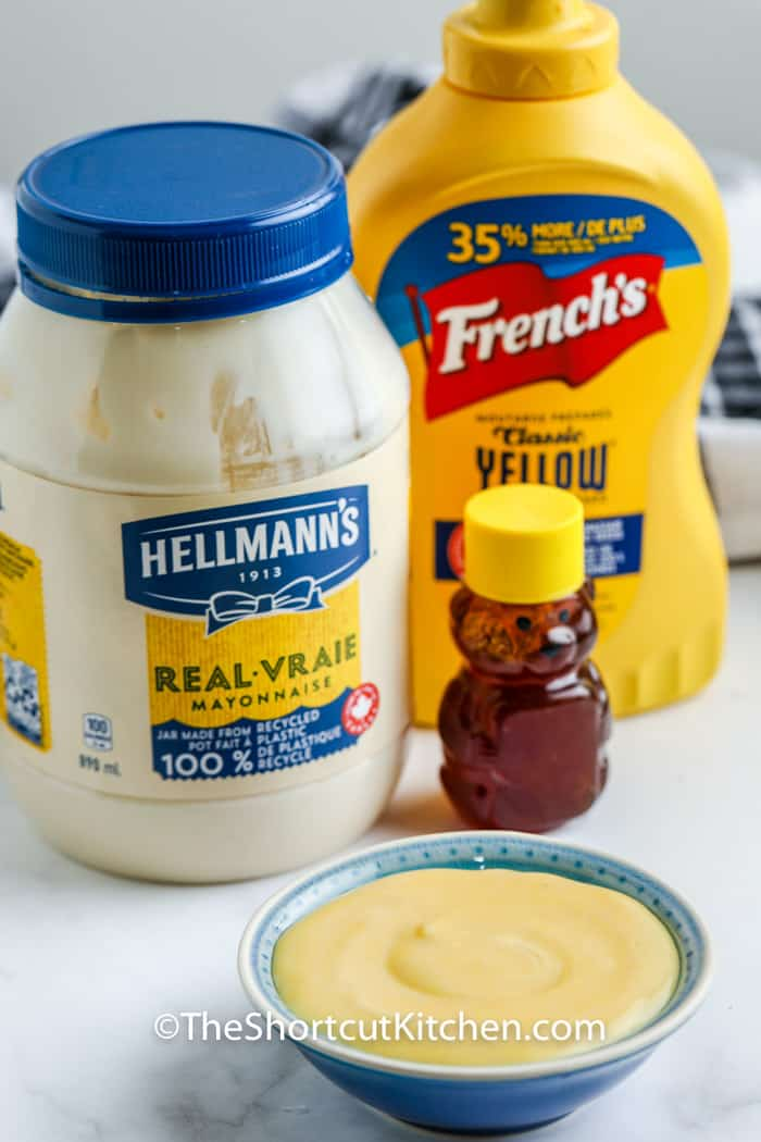 Quick Honey Mustard Sauce Recipe ingredients on a table