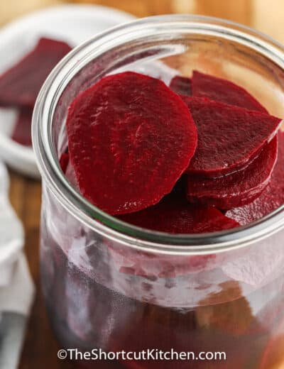 making Quick Pickled Beets in a jar