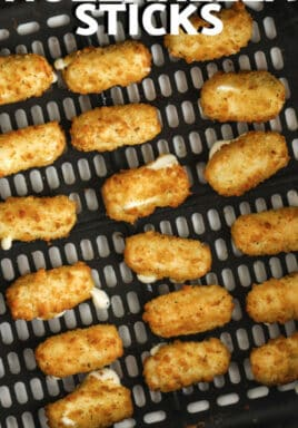 Air Fryer Frozen Mozzarella Sticks cooked in the air fryer with writing