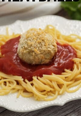 plated Chicken Parmesan Meatballs with writing