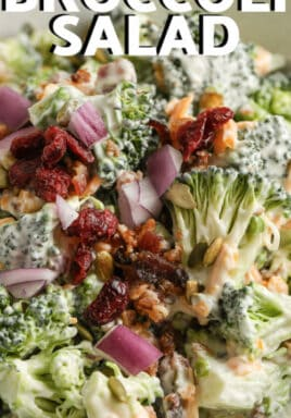 plated Easy Broccoli Salad with a title