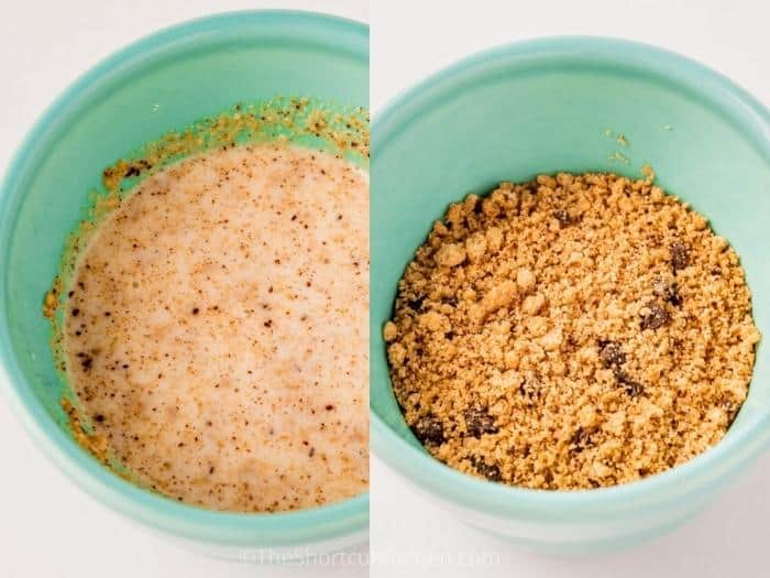 process of adding ingredients to cup to make Chocolate Chip Cookie Mug Cake