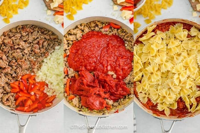 process of adding ingredients to the pan to make Sausage and Peppers Pasta
