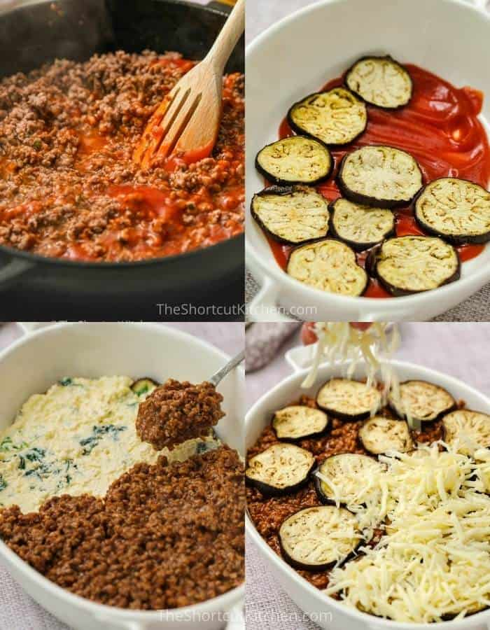 process of adding ingredients to pan to make Eggplant Lasagna Recipe