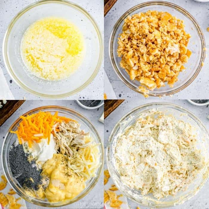 process of mixing ingredients to make a Chicken Poppyseed Casserole