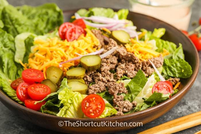 close up of Cheeseburger Salad