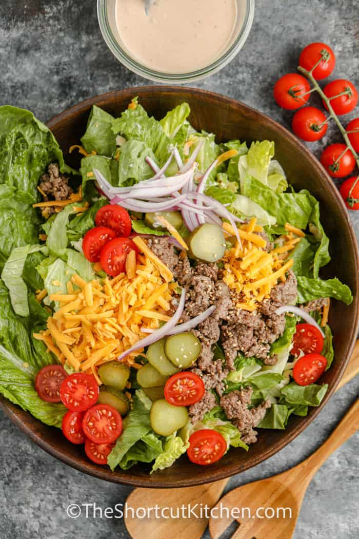 top view of plated Cheeseburger Salad