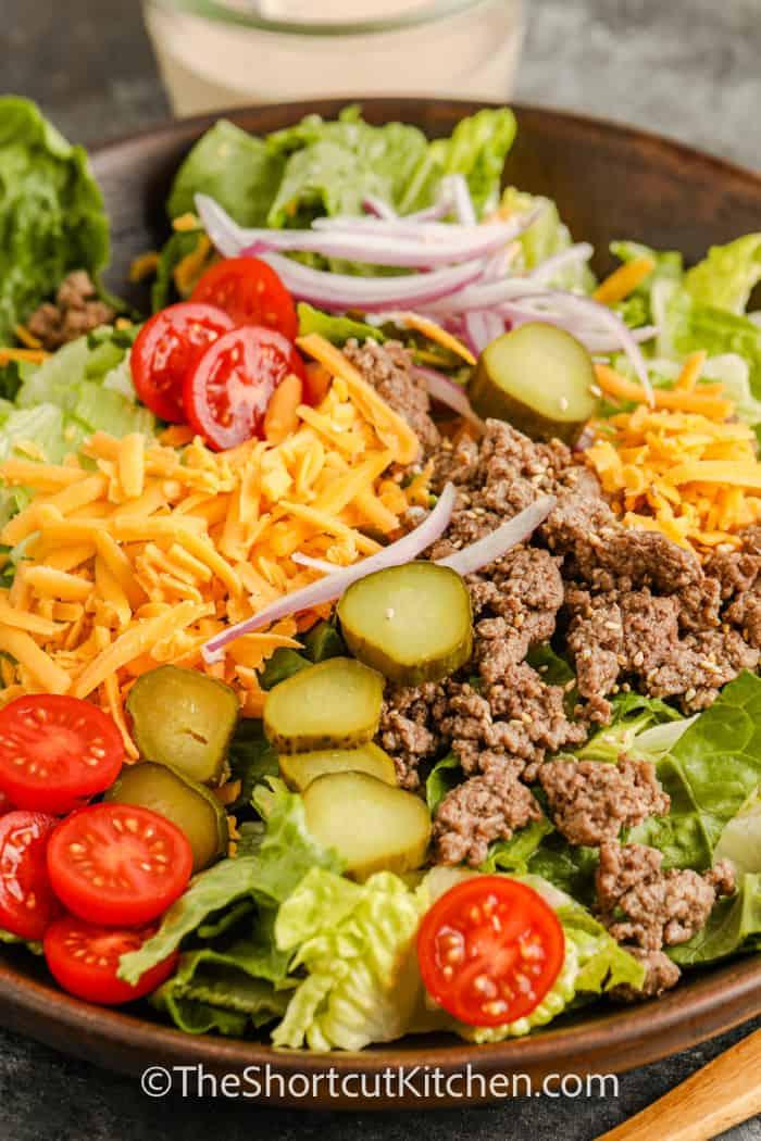 Cheeseburger Salad in a bowl
