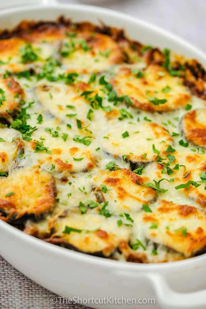 close up of Eggplant Lasagna Recipe in a dish