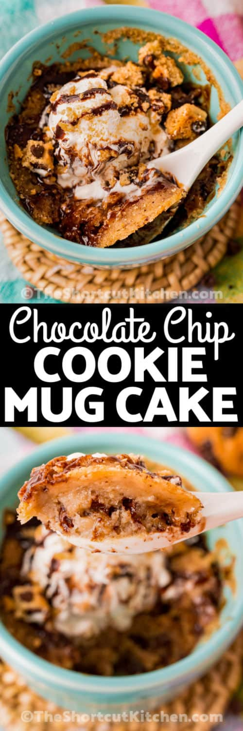 Chocolate Chip Cookie Mug Cake cooked and on a spoon with a title