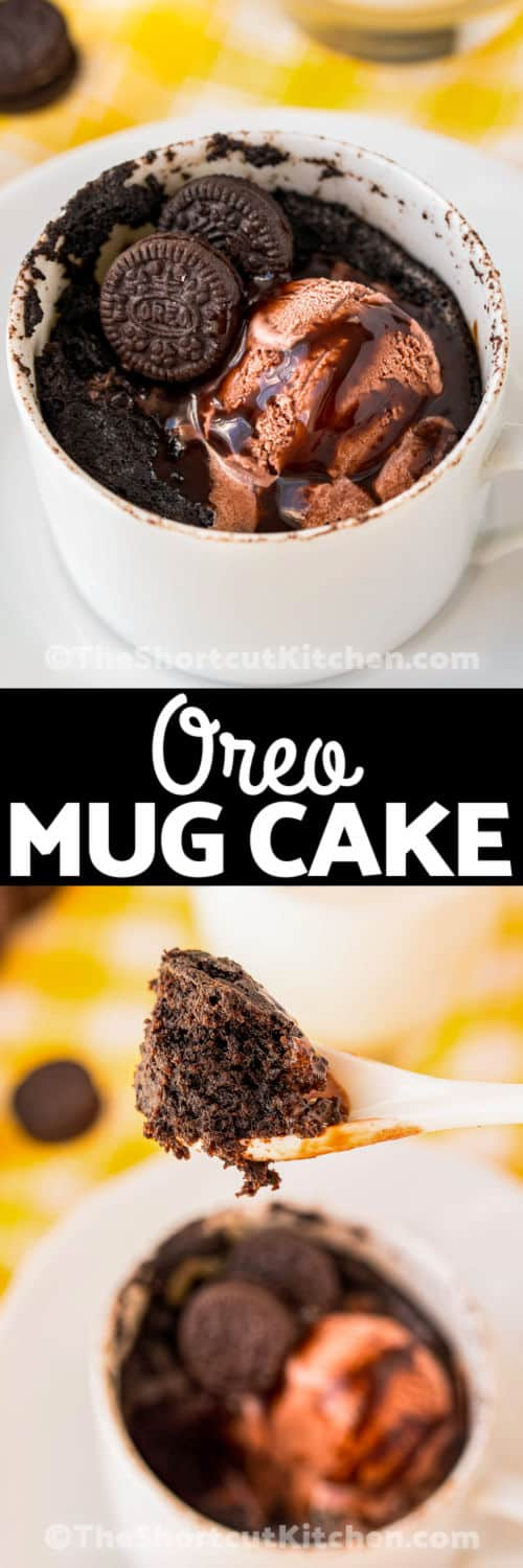 Oreo Mug Cake plated and on a spoon with a title
