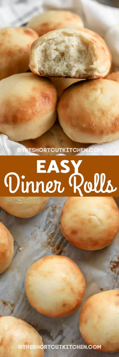 dinner rolls in a basket and in a pan with text