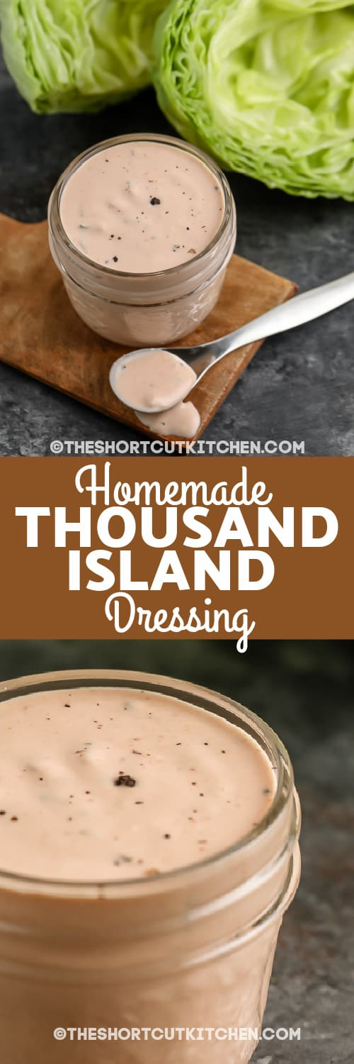 thousand island dressing in a glass jar with a spoon with text