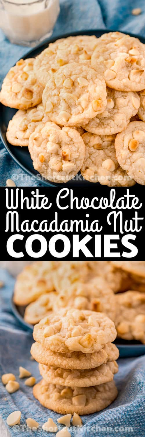 White Chocolate Macadamia Nut Cookie Recipe on a plate and a pile with writing