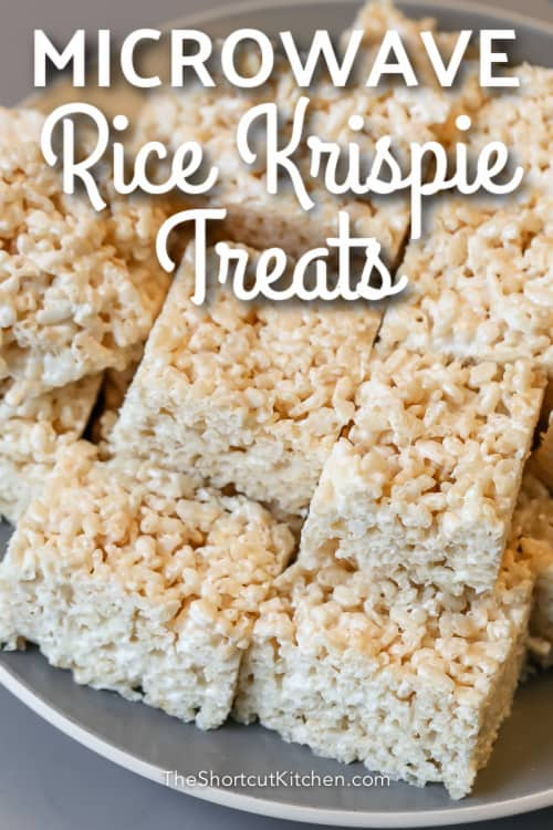 rice krispie treats on a grey plate with text