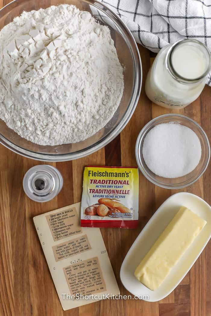 ingredients for easy dinner rolls