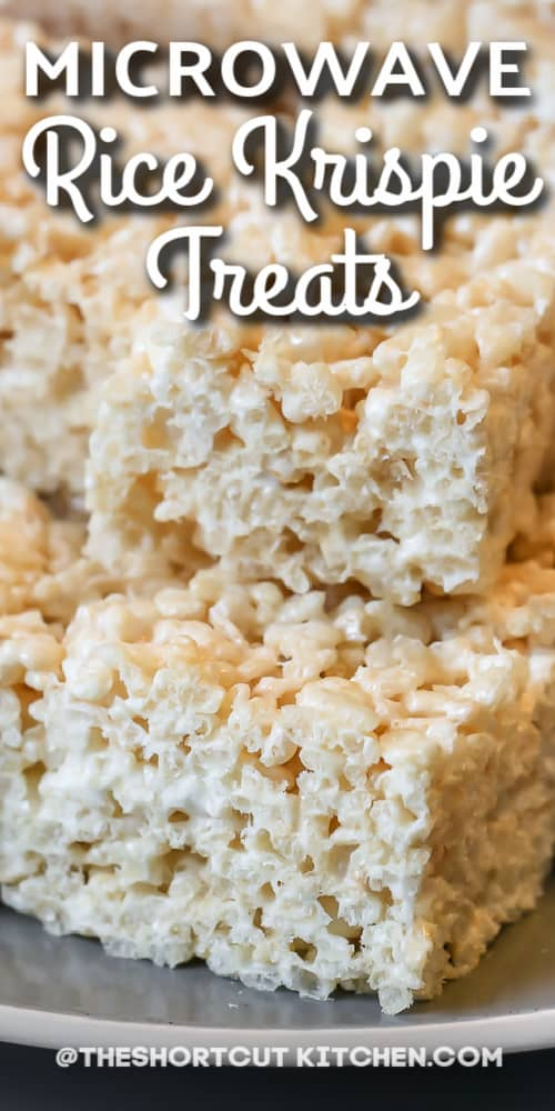 plate of rice krispie treats with text