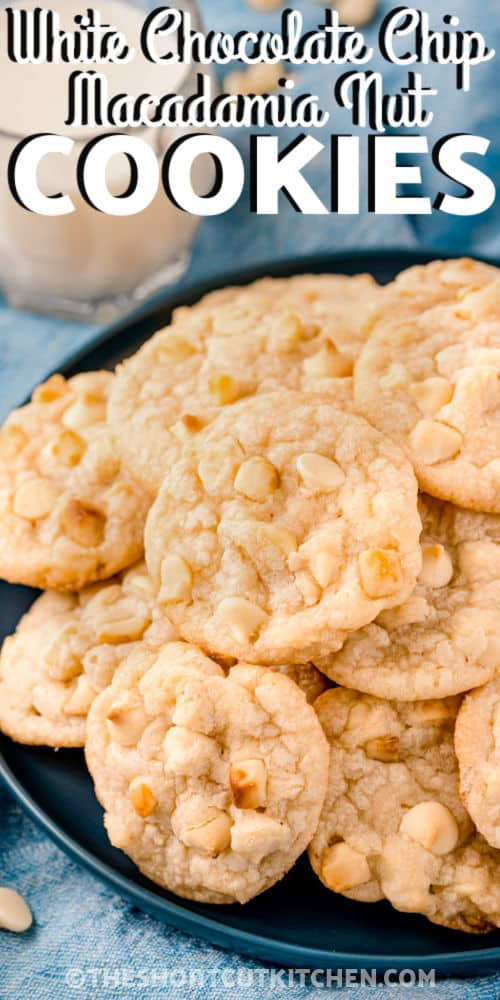 White Chocolate Macadamia Nut Cookie on a plate with a title