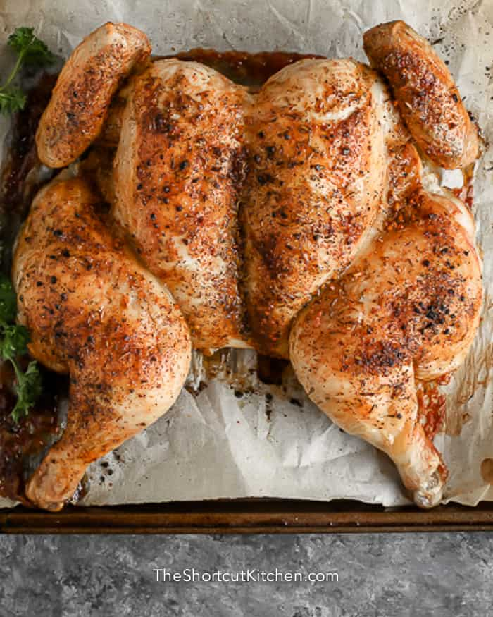 whole cooked chicken with seasoning