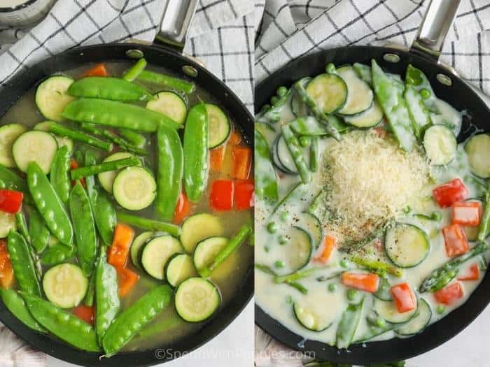 Two images showing the steps to make the creamy sauce and vegetables for pasta primavera