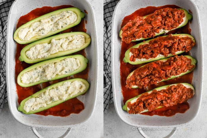 process of adding meat sauce to zucchini boats