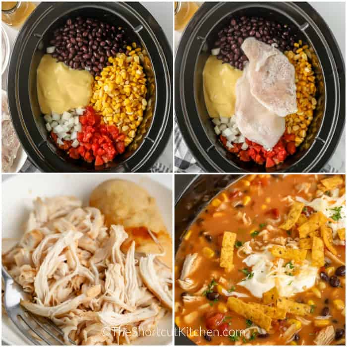 Images showing the process to make Crock Pot Chicken Tortilla Soupo
