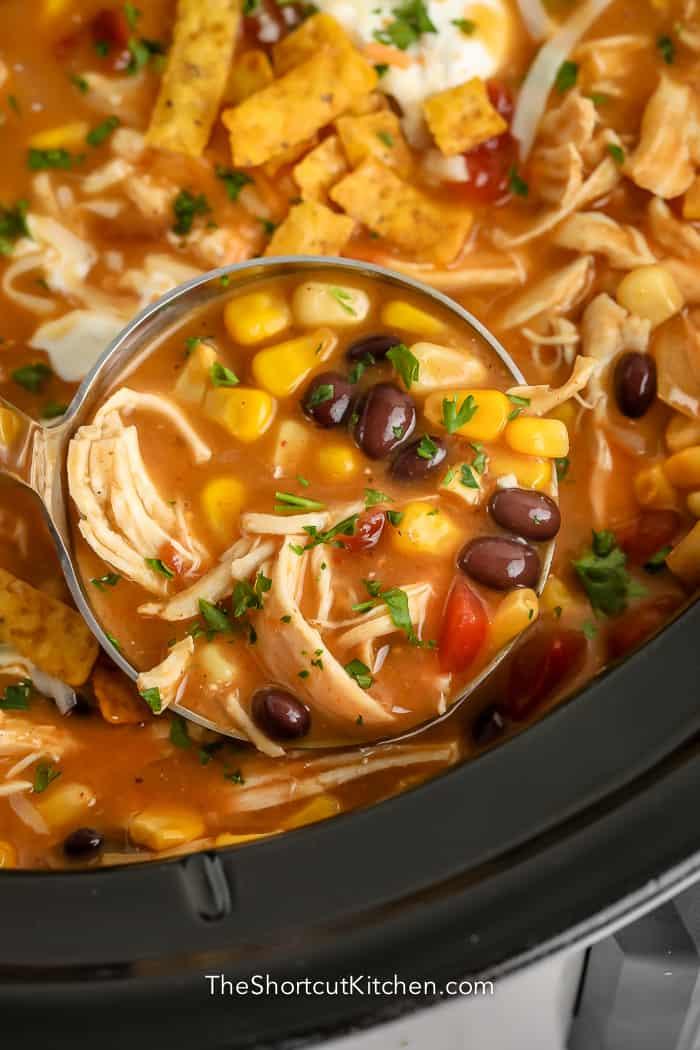 ladle of crock pot chicken tortilla soup