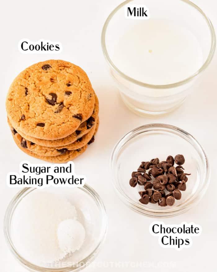 ingredients to make Chocolate Chip Cookie Mug Cake