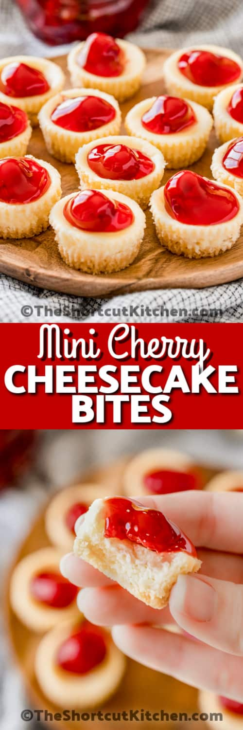 A serving plate full of mini cheesecake bites, and a mini cheesecake with a bite taken out of it under the text.