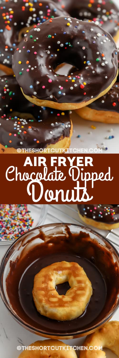 chocolate dipped donuts and uncooked dough with text