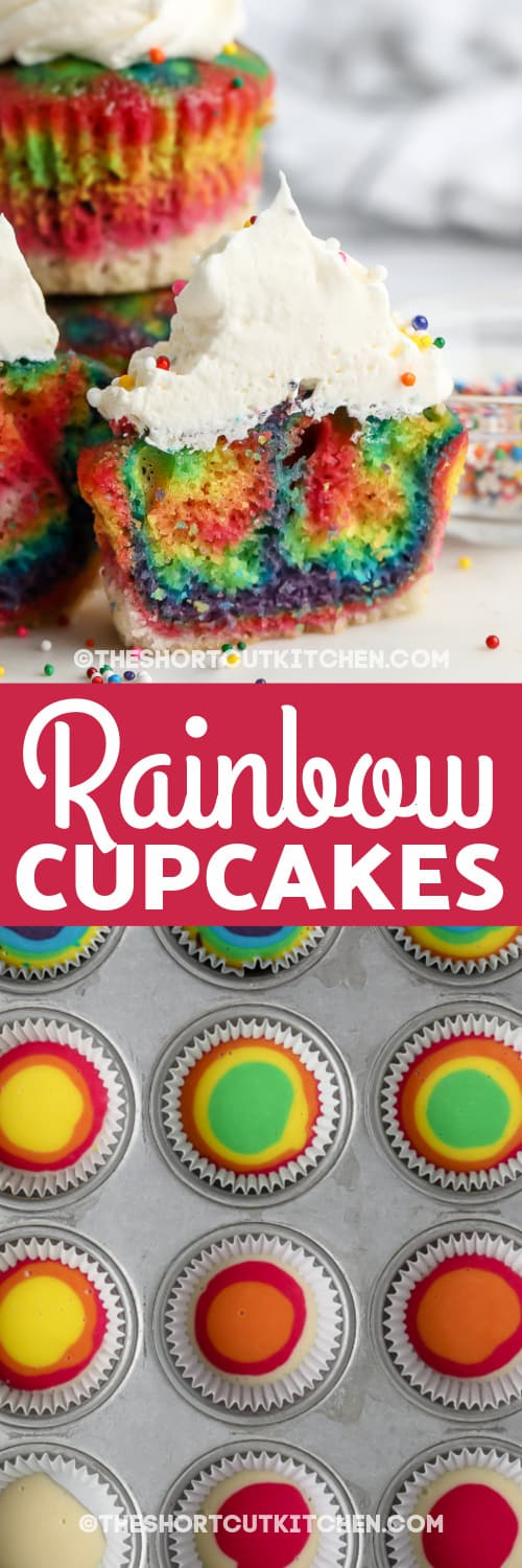 group of rainbow coloured cupcakes with text and rainbow coloured batter in muffin tray