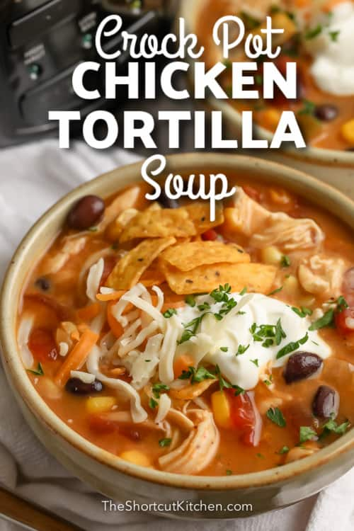 crock pot chicken tortilla soup in bowl with text