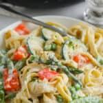 a serving of pasta primavera