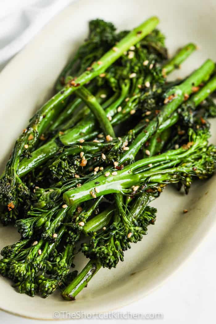 close up of Roasted Broccolini