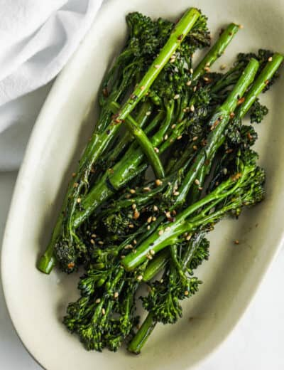 top view of Roasted Broccolini on a plate