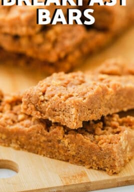 Peanut Butter Breakfast Bars with writing