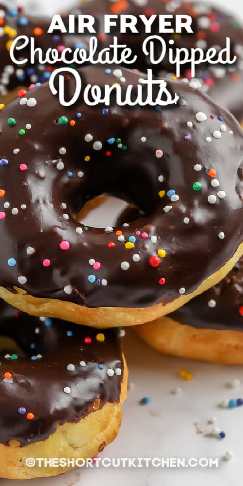 chocolate dipped donuts with sprinkles with text