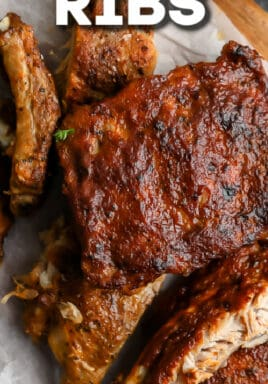 crock pot ribs on parchment paper with text